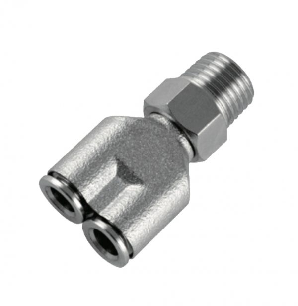 nickel plated male y push in fitting